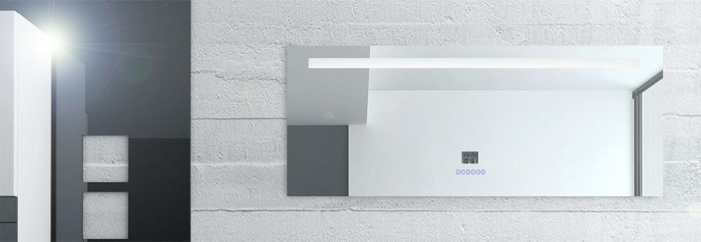 Led multimedia badspiegel mit beleuchtung touch uhr radio for Badspiegel mit radio